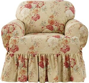 NEW Sure fit Ballad Bouquet Waverly One Piece t cushion chair Slipcover Blush b