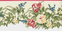 Cream Coral Green Country Garden Floral Vine Wallpaper Border Flower Wall Decor
