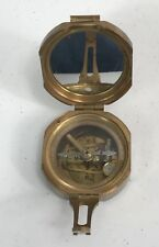 Vintage Stanley Brass Compass In Wood Box