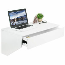 Used Vivo White Floating Wall Mounted Storage Shelf   Wall Hanging Desk Drawer