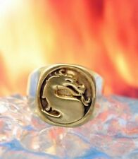 New Heavy Mortal Kombat Ring Dragon Gold Plated Real Sterling silver 925 Jewelry