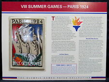 1924 SUMMER OLYMPICS VIII PARIS ~ OLYMPIC GAMES PATCH INFO CARD Willabee & Ward