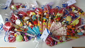 pre-filled sweet cones party bags favours personalised  wedding birthday £1.40