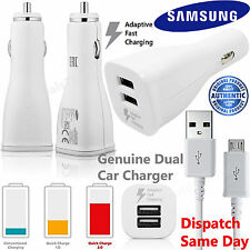GENUINE Samsung Fast Dual Car Charger & USB Cable For Galaxy S3 S4 S5 S6 S7 Edge