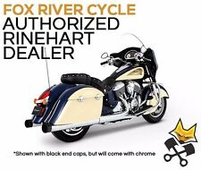 "RINEHART 4"" CHROME SLIP ON MUFFLERS W/ CHROME END CAPS FOR 15-UP INDIAN TOURING"