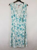 WHITE STUFF Ladies wrap dress sleeveless linen blend white floral size10 002`