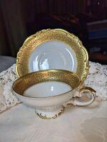 Rare Vintage H&Co Selb Bavaria Germany Heinrich Fanny Elssler Cup & Saucer Gold