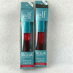 2 ELF Gel Lip Tint Rouge Radiance Aqua Beauty Radiant  (57040) 0.20 fl oz ea NEW