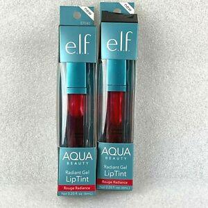2 ELF Gel Lip Tint Rouge Radiance Aqua Beauty Radiant  (57040) 0.20 fl oz ea NEW