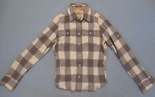 MEN'S IVORY/GREY PLAID FLANNEL SHIRT-HOLLISTER BRAND-SIZE SMALL