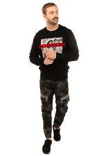 DIESEL Sweatshirt Size L Printed Glued Front Long Sleeve Crew Neck