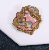 Antique Art Nouveau Lady Winged Angel Translucent Enamel Gold Filled Pin