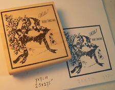 "P9 Boston Terrier Christmas puppy 3x2.8"" WM rubber stamp"