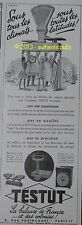 PUBLICITE 1940 BALANCE DE FRANCE ET COLONIES TESTUT ROBERVAL BERANGER FRENCH AD