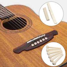 6 Bridge Pins + saddle + bridge saddle Bone / Bone Acoustic Guitar white U2G1