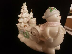 RARE! Retail Exclusive LENOX  Christmas Snowman with sled and trees. Figurines