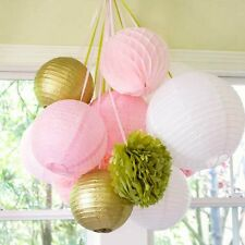 11Pcs Paper Crafts Honeycomb Balls Lanterns Pom Poms Birthday Wedding Party Deco