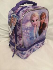 NWT Disney Frozen Lunch Box Bag Elsa & Anna Insulated Lunch Bag Dual Compartment