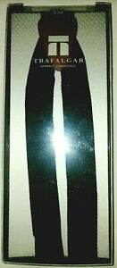 NiB TRAFALGAR Diamond Print Formal Suspenders Monterey Black  Silk/Leather/Brass