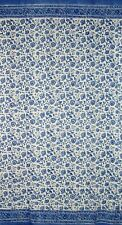 "Rajasthan Floral Block Print Curtain Drape Panel Cotton 46"" x 88"" Blue"