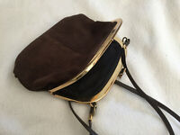 VINTAGE 1970s Brown Suede Leather Clutch Bag Gold Color Frame
