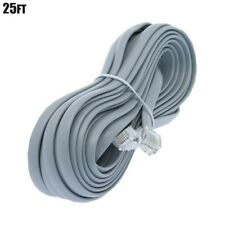 25FT RJ12 6P6C Reverse VOICE Telephone Phone Line Extension Cable Cord 28AWG