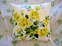 Throw Pillow Wilendur Yellow Royal Roses Mid Century Vintage Tablecloth Sham