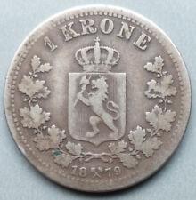 NORWAY, OSCAR II, 1879 SILVER 1 KRONE COIN