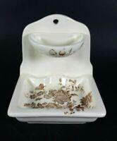 VTG Crown Devon Soap Ring Dish Brown Transferware Stoneware 1940s Wall Mount