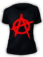 Anarchy T-Shirt SCREENPRINTED Ladies Womens Rock Punk Metal Biker