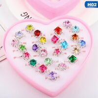 Box-packed Sweet Fancy Adjustable Rings Girls Pretend Play Toy Kids Gift #LF