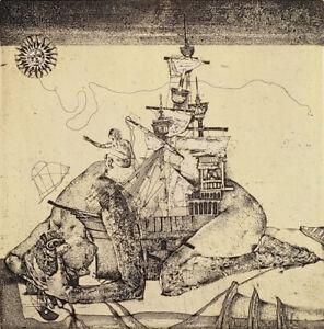 IVAN RUSACHEK, Art Print, Original Hand Signed Etching, Ex Libris Bookplate,2005