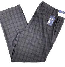Ralph Lauren Mens Gray BlackPlaid Performance Flex Dress Pants 42 X 32