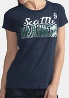 G-III Women's MLB Seattle Mariners Homeplate Tee T-shirt Metallic Silver Logo M
