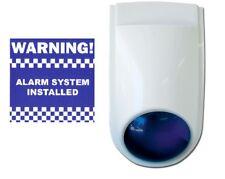 Siren With WORKING Strobe, 4 x Warning Stickers, DUMMY or wire strobe to ALARM