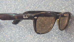 "Ray Ban Black ""New Wayfarer"" Brown Designer Sunglasses Made in Italy RB 2132"
