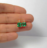 3.26ct AAA NATURAL GREEN COLOMBIAN EMERALD STUD EARRINGS 18K ROSE GOLD GORGEOUS