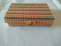 Multicolor Small Wooden Stick Trinket Box Jewelry Boho Cottage Bamboo closure