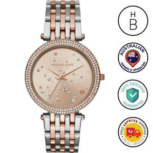 New Michael Kors Ladies Watch Darci Silver & Rose Gold Tone Crystal Stars MK3726