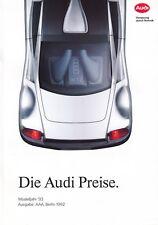 AUDI 80 Coupe B3 Cabrio B4 V8 100 C4 Preisliste Prospekt Brochure 1992 77