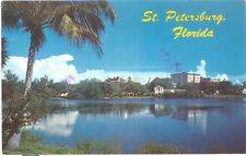 Vintage Florida Chrome Postcard St Petersburg View Over Mirror Lake