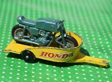 Vintage LESNEY TOYS #38c HONDA Motorcycle & Trailer BPW @1967 Matchbox 1-75