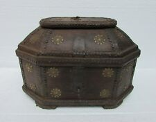 Vintage Old Hand Crafted Rare shape Iron Brass Work Wooden Box, Collectible