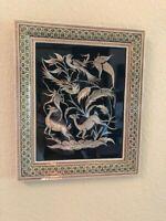 Vintage Middle Eastern Persian Khatam Frame W/Handmade Copper Art14.75x12.25 IN