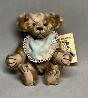 "Rare Art Sandy Fleming 8"" Bear ""Percy"" #13 Glass Eyes Distressed Mohair Signed"