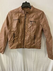 Jou Jou Juniors Faux Leather Lined Jacket, Pink, XL  NWT