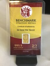 Rare 2/3 Gram Gold Benchmark Strategic 999.9 Fine Gold