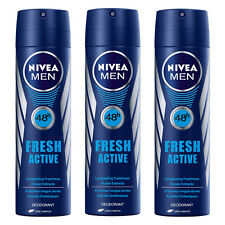 3 x Nivea MEN FRESH ACTIVE Body Spray Deodorant 48h Fresh 150ml Each