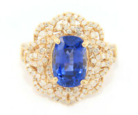 5.0ct Cushion Sapphire and 1.00ctw Diamond Flower Cocktail Ring in 14K