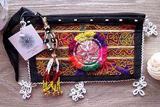 Tribal Gypsy Mini Beaded Patch Clutch Bag Banjara Indian Tassel Handmade Boho